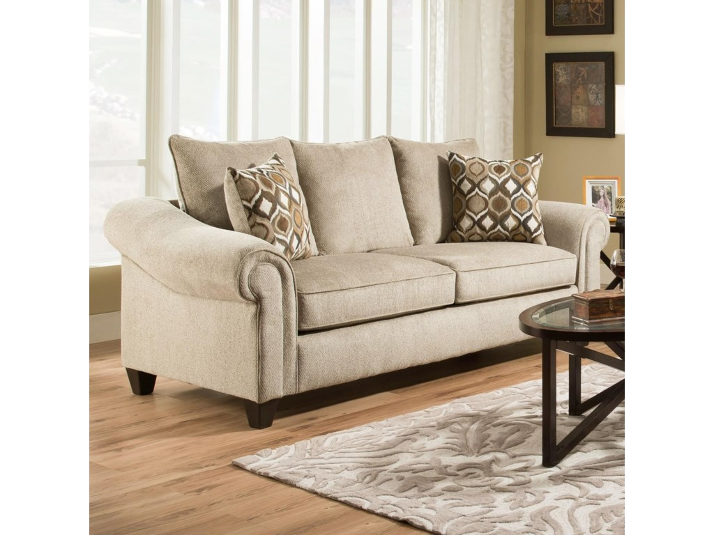 American Furniture 2700 Transitional Sofa with 2 Seat Cushions ...