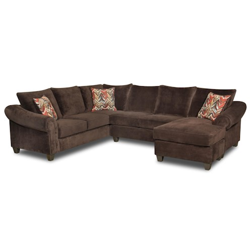 American Furniture 2800 Sectional Sofa with Chaise on Right Side
