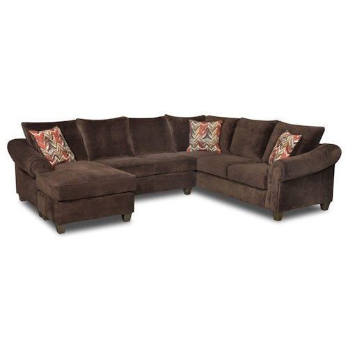 American Furniture 2800 Sectional Sofa with Chaise on Left Side