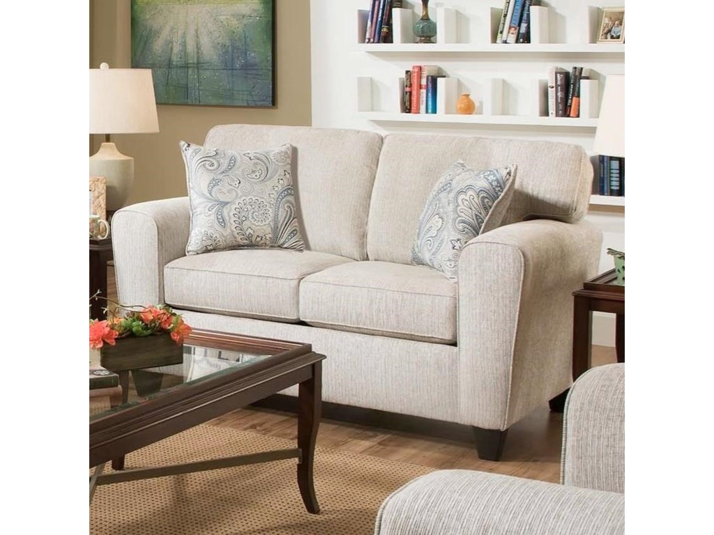 American Furniture Uptown 3102 2760 Ecru Loveseat With Casual Style