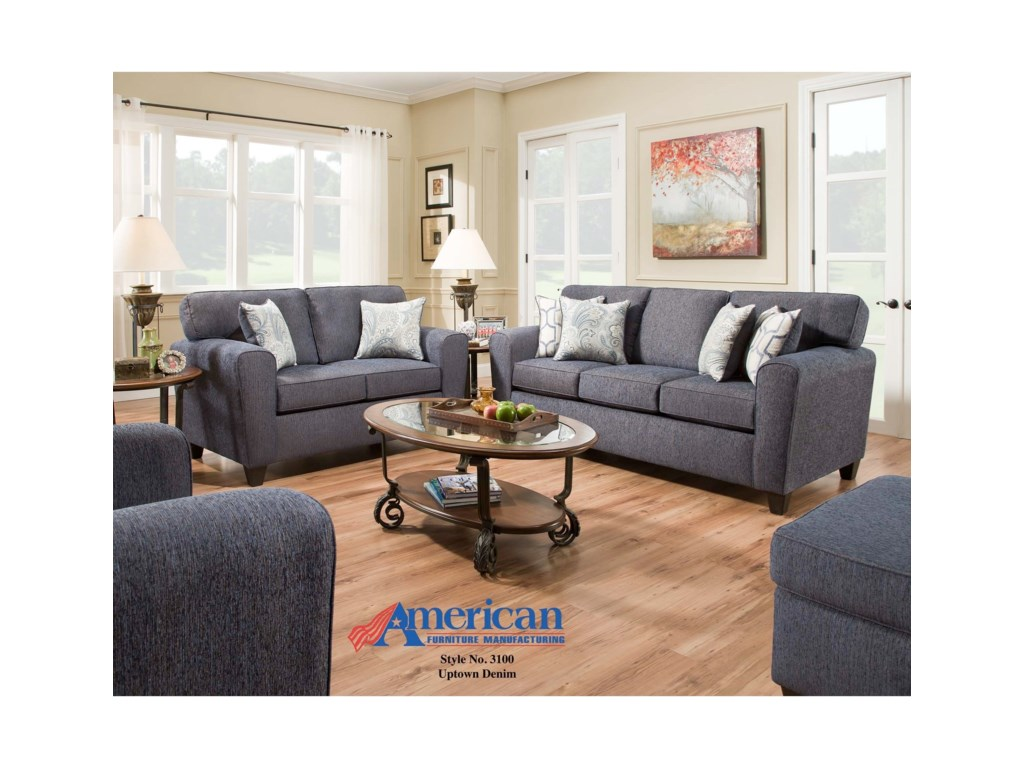 American Furniture 3100Loveseat with Casual Style