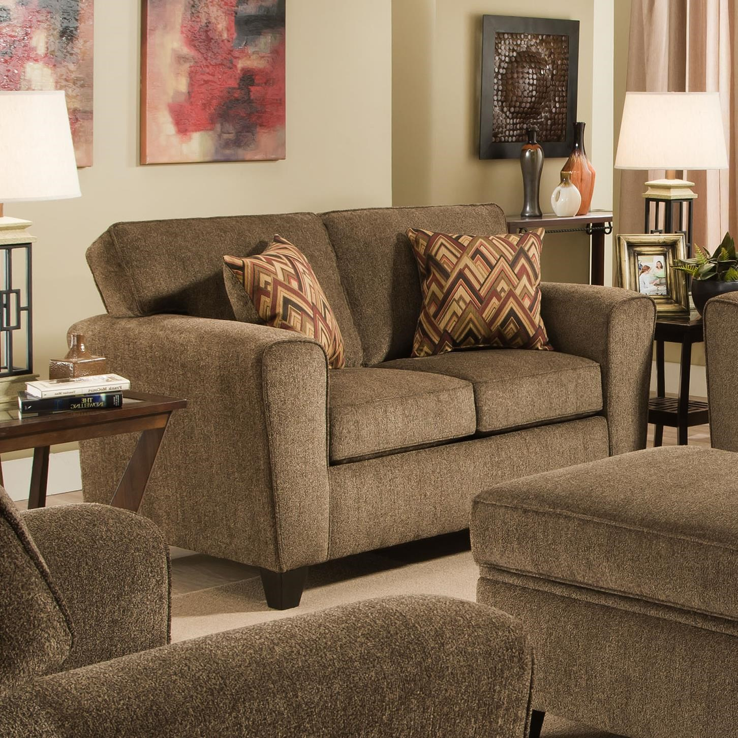 American Furniture 3100 Loveseat With Rounded Track Arms