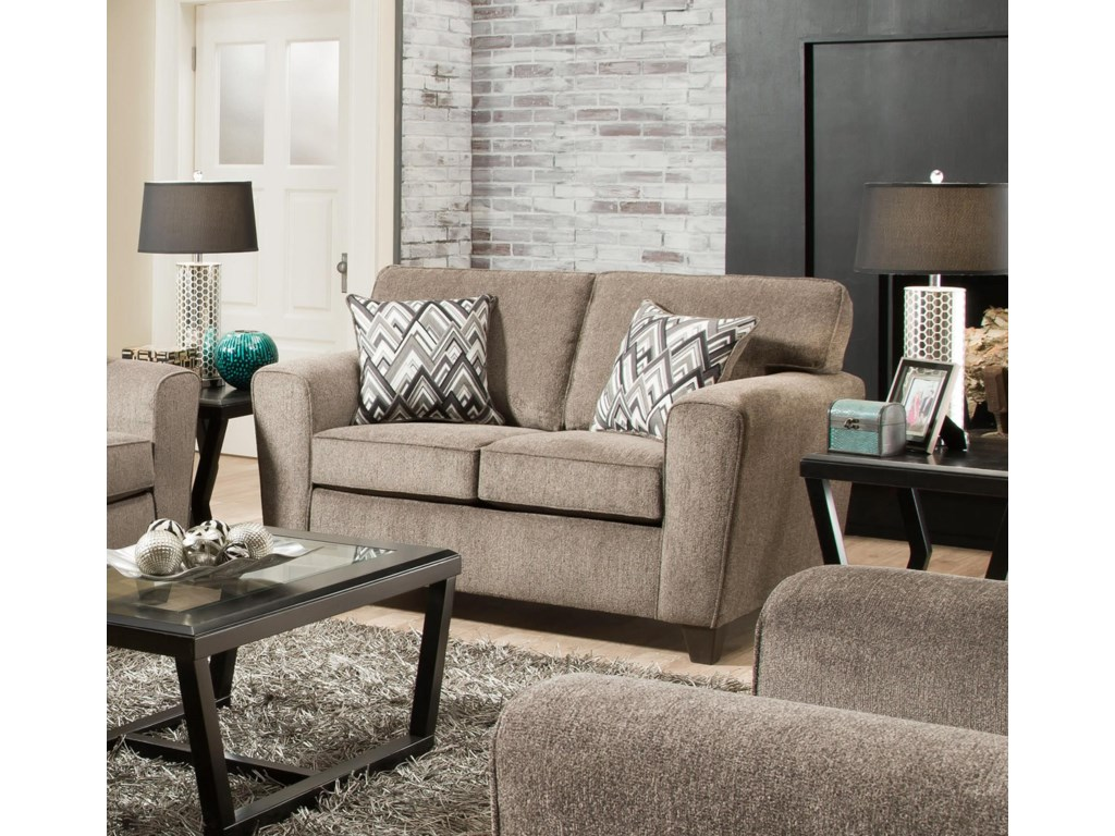 American furniture cornell loveseat with rounded track arms