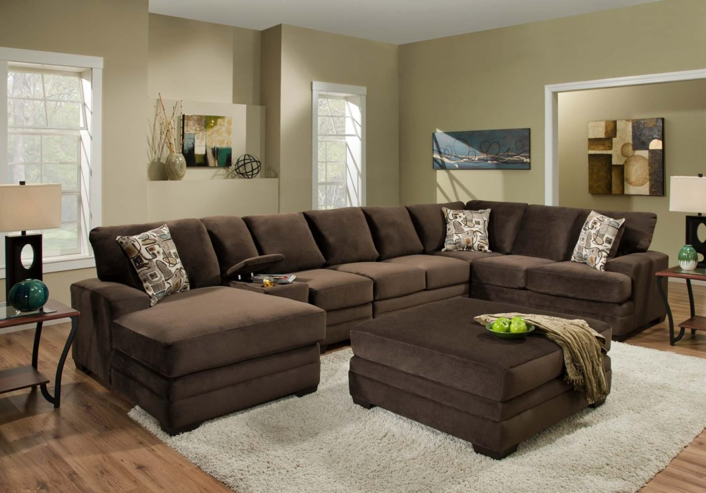 American Furniture 3500 Contemporary Sectional Sofa With 6 Seats And