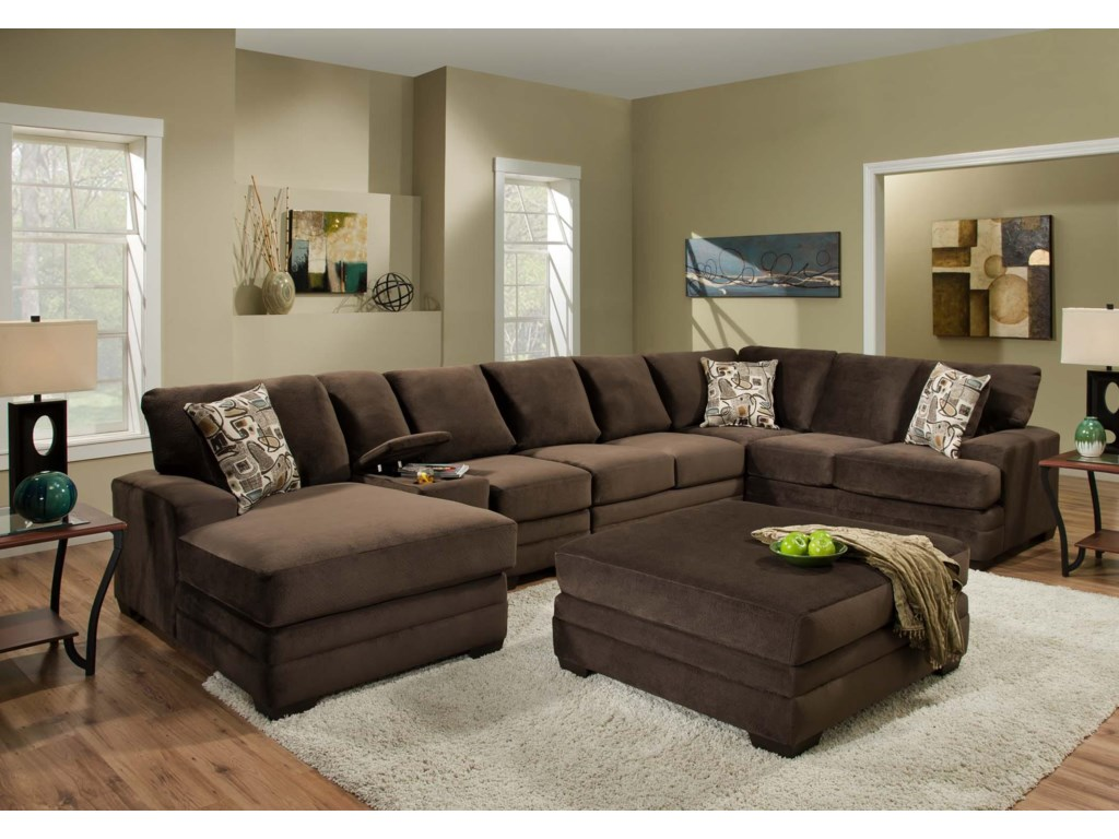 American Furniture 3500 Contemporary Sectional Sofa with 6 Seats and ...