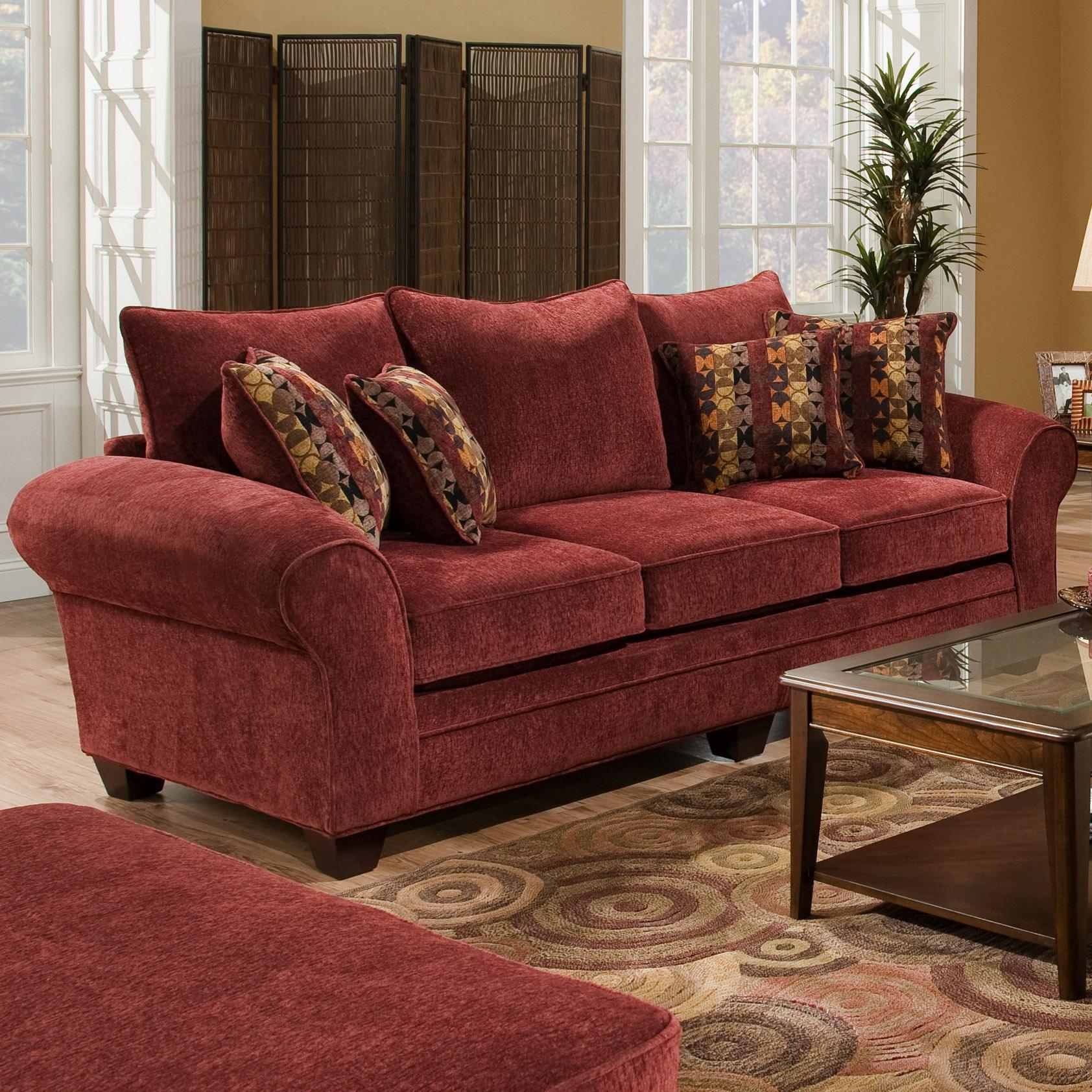 American Furniture 3700Upholstered Stationary Sofa ...