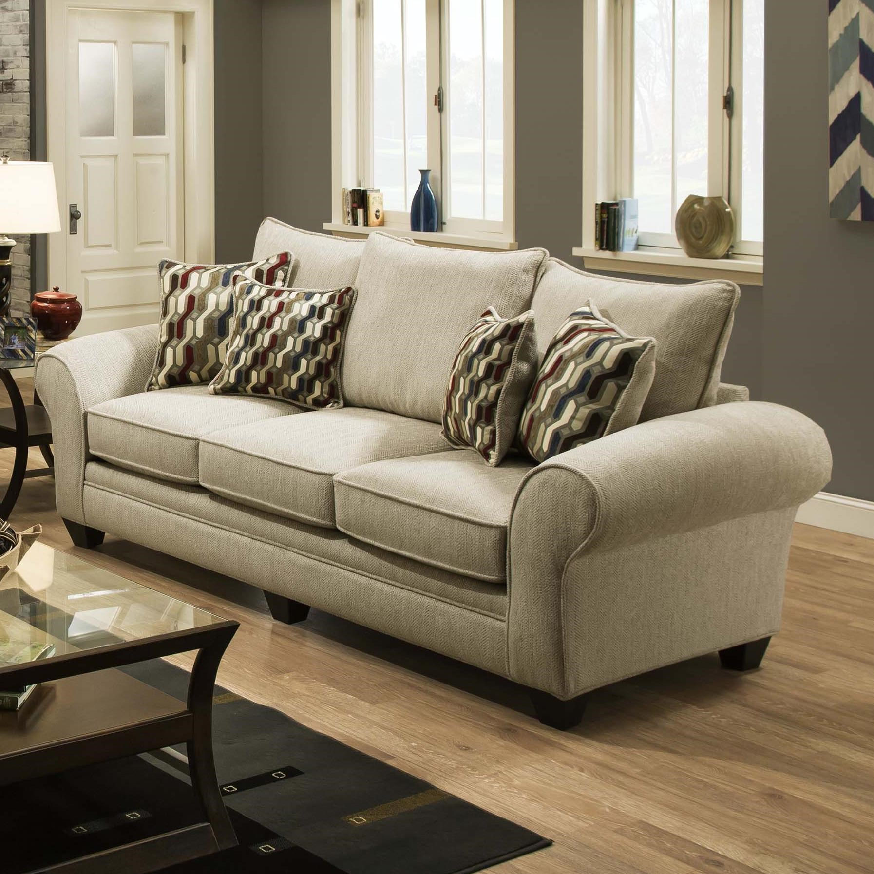 American Furniture 3700Upholstered Stationary Sofa ...