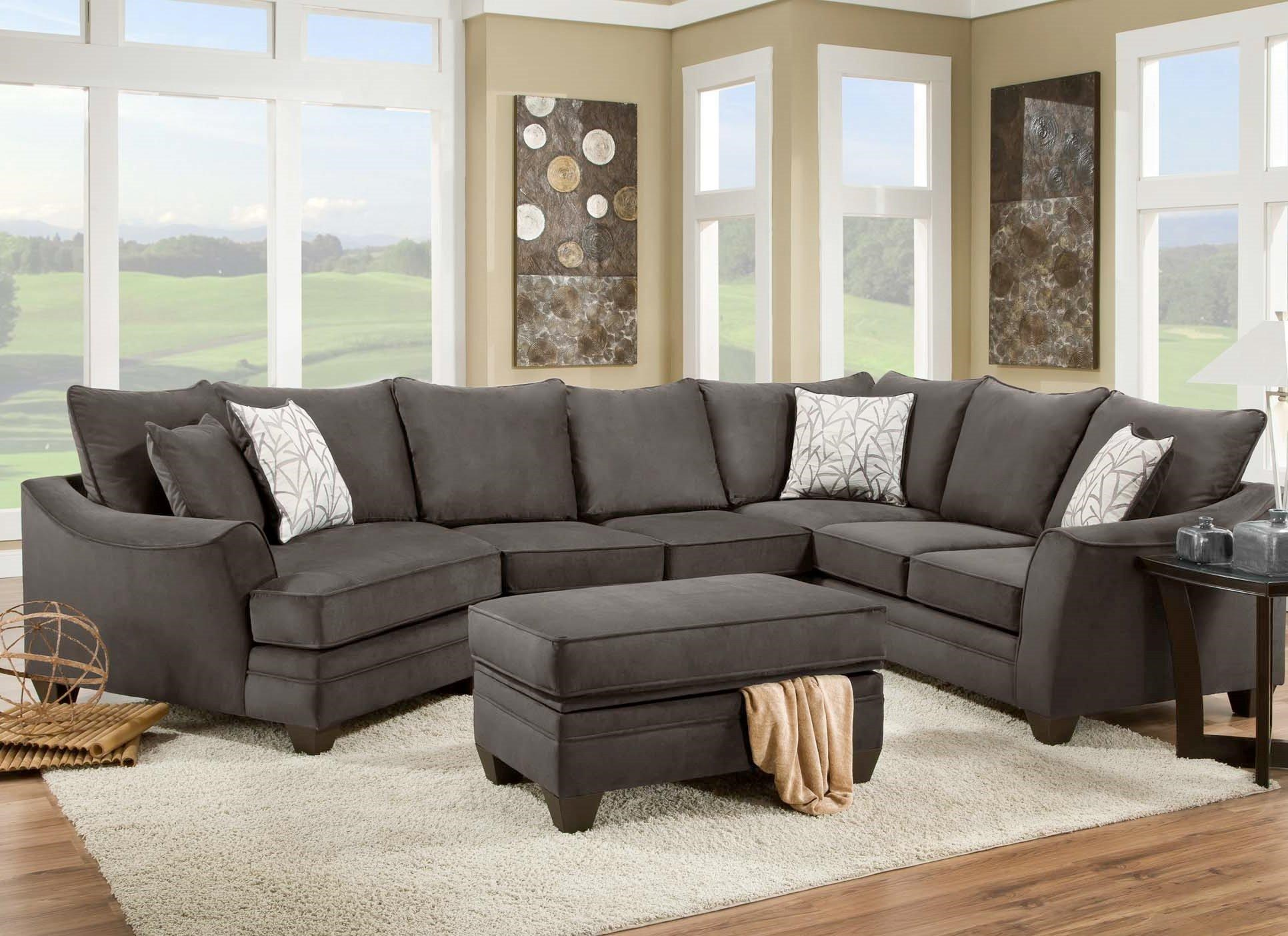 American Furniture 3810 Sectional Sofa That Seats 5 With Left Side Cuddler    Miskelly Furniture   Sofa Sectional