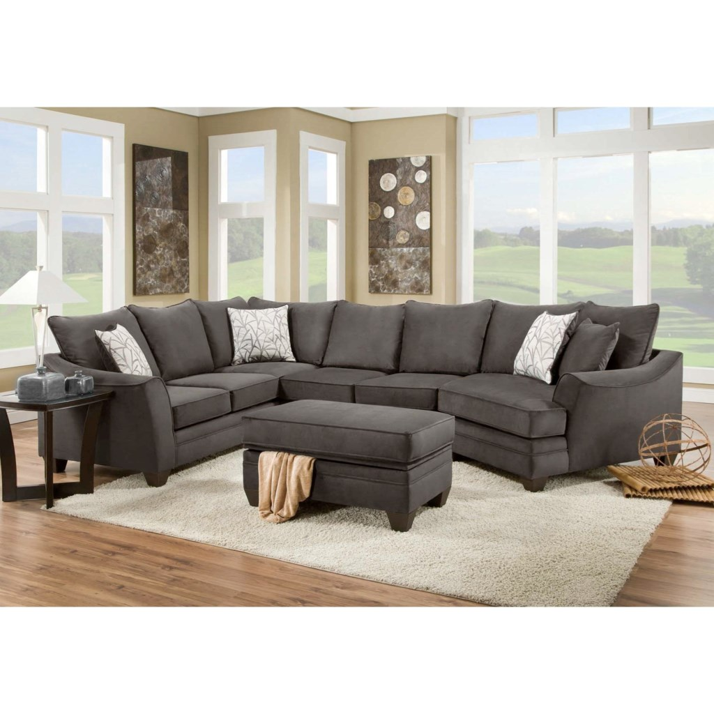 American furniture 3810 sectional sofa that seats 5 with right side cuddler