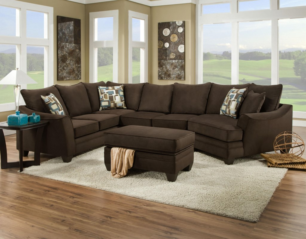 American furniture 3810 sectional sofa that seats 5 with right side cuddler becks furniture sectional sofas