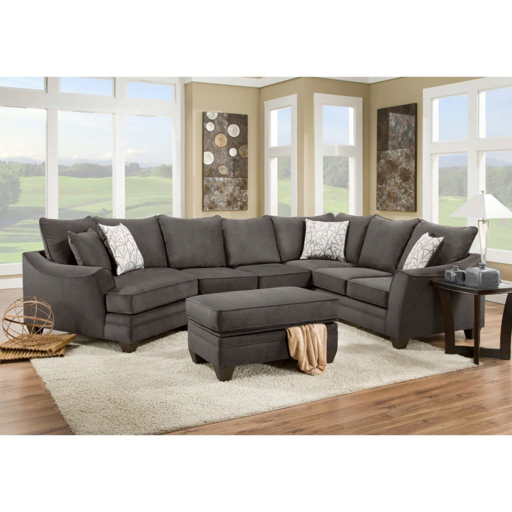American Furniture 3810 Sectional Sofa That Seats 5 With Left Side  ~ Sectional Sofa With Cuddler