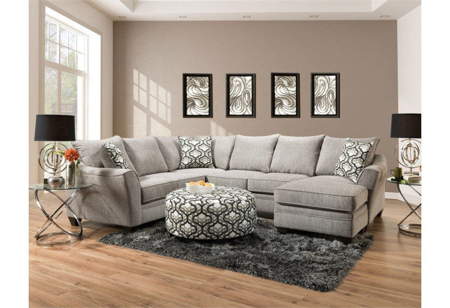 Peak Living 4810 5 Seat Sectional Sofa with Chaise | Prime ...
