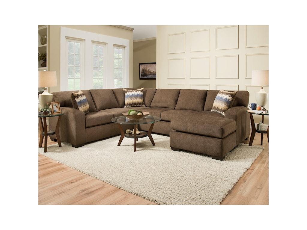 American Furniture 5250Sectional Sofa - Seats 5