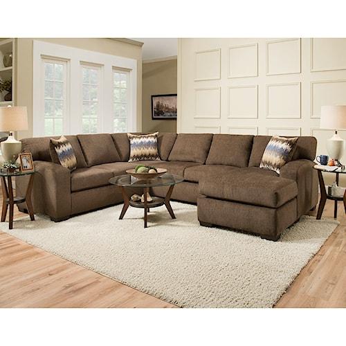 American Furniture 5250 Sectional Sofa - Seats 5