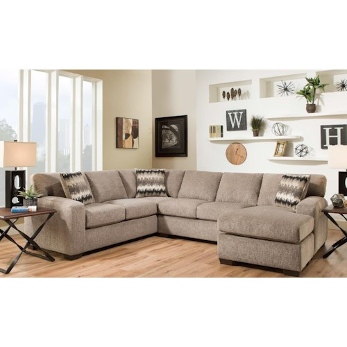 American Furniture 5250 Sectional Sofa - Seats 5