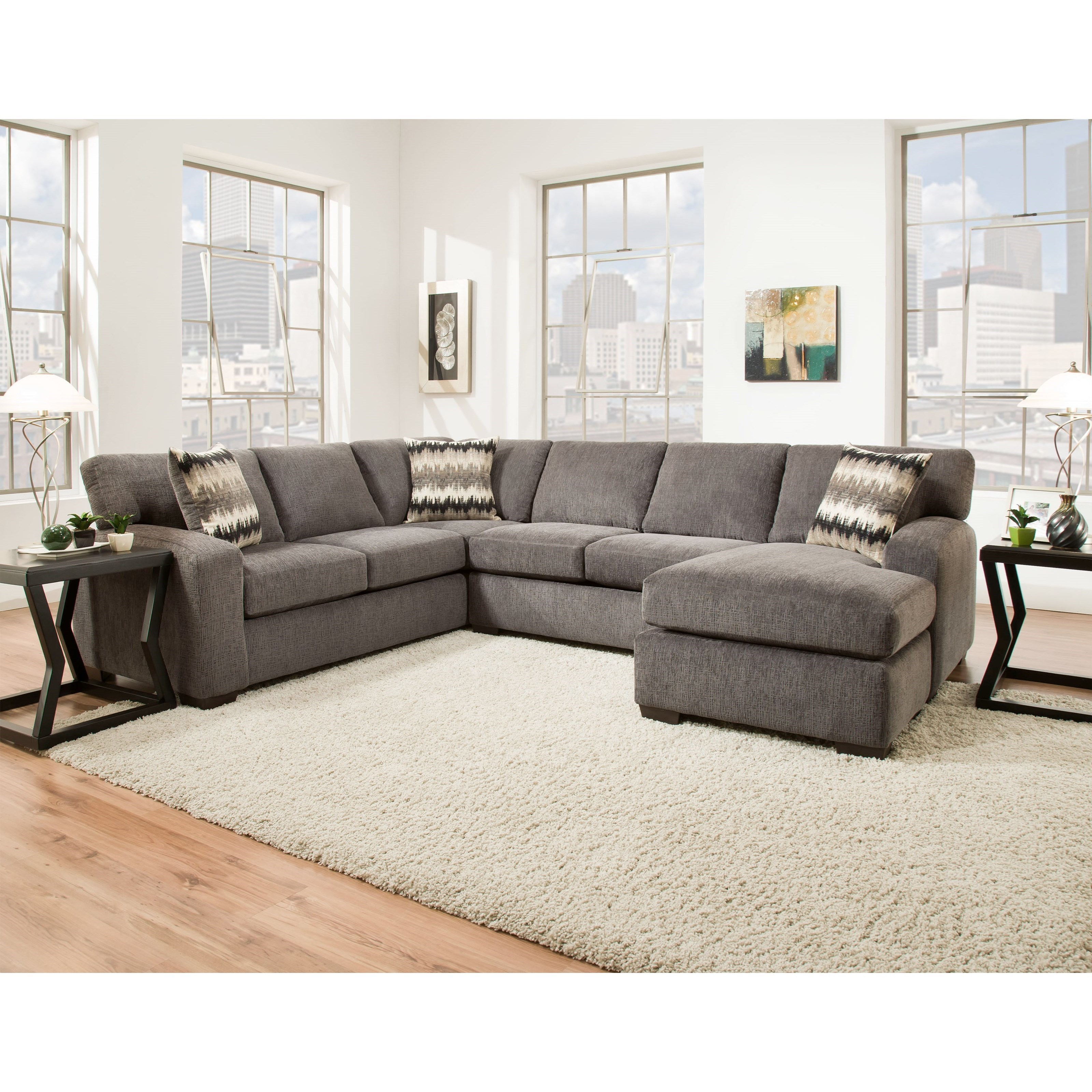 American Furniture 5250Sectional Sofa   Seats 5