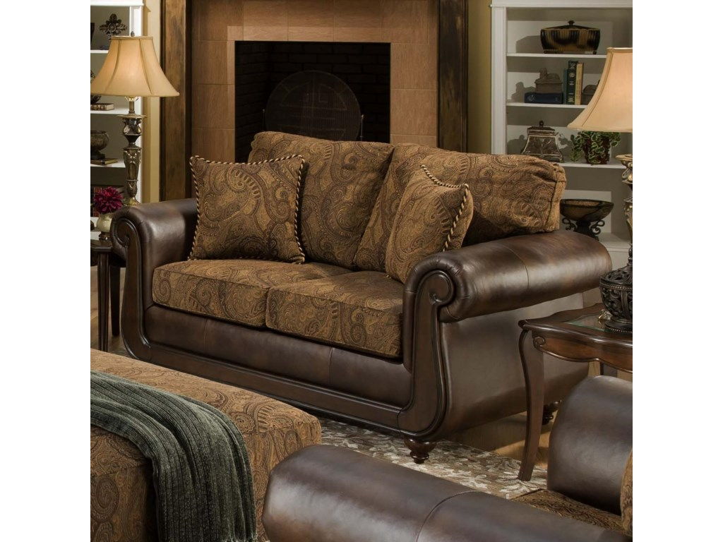 American Furniture 5850Loveseat with Exposed Wood