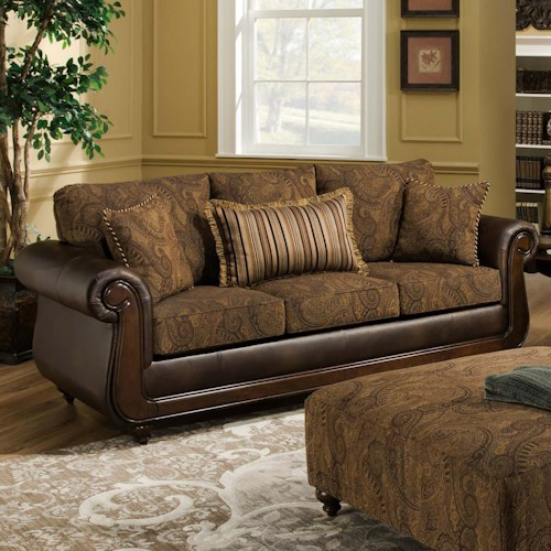 American Furniture 5850 Sofa With Exposed Wood In Classic
