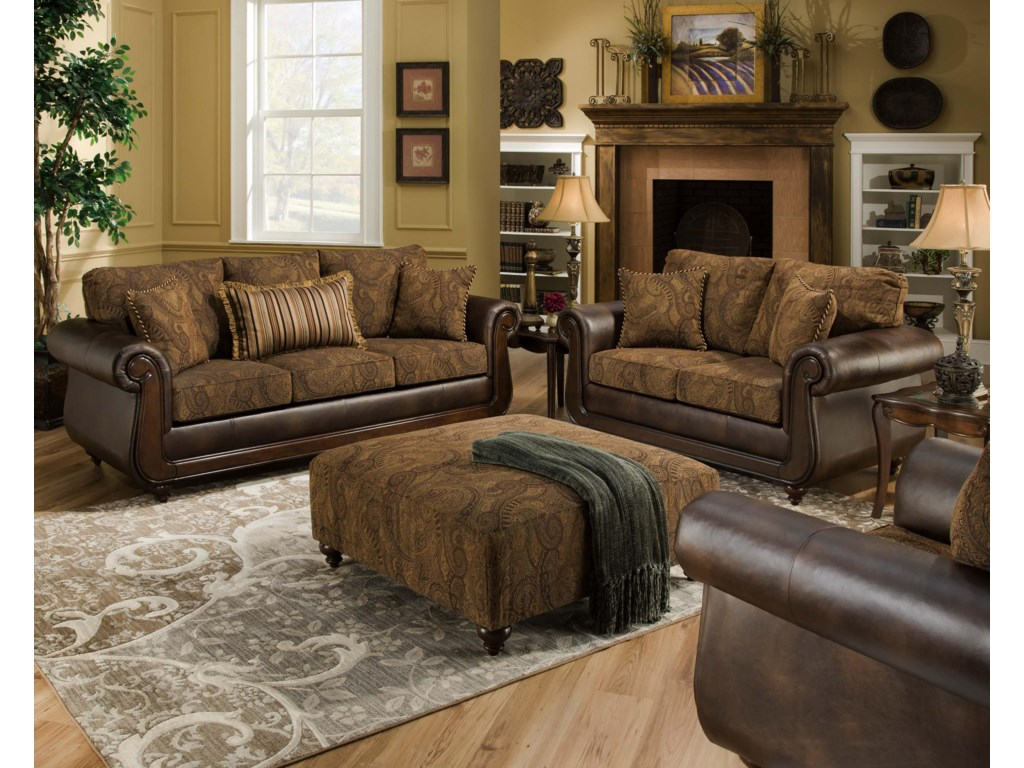American Furniture 5850Sofa with Exposed Wood