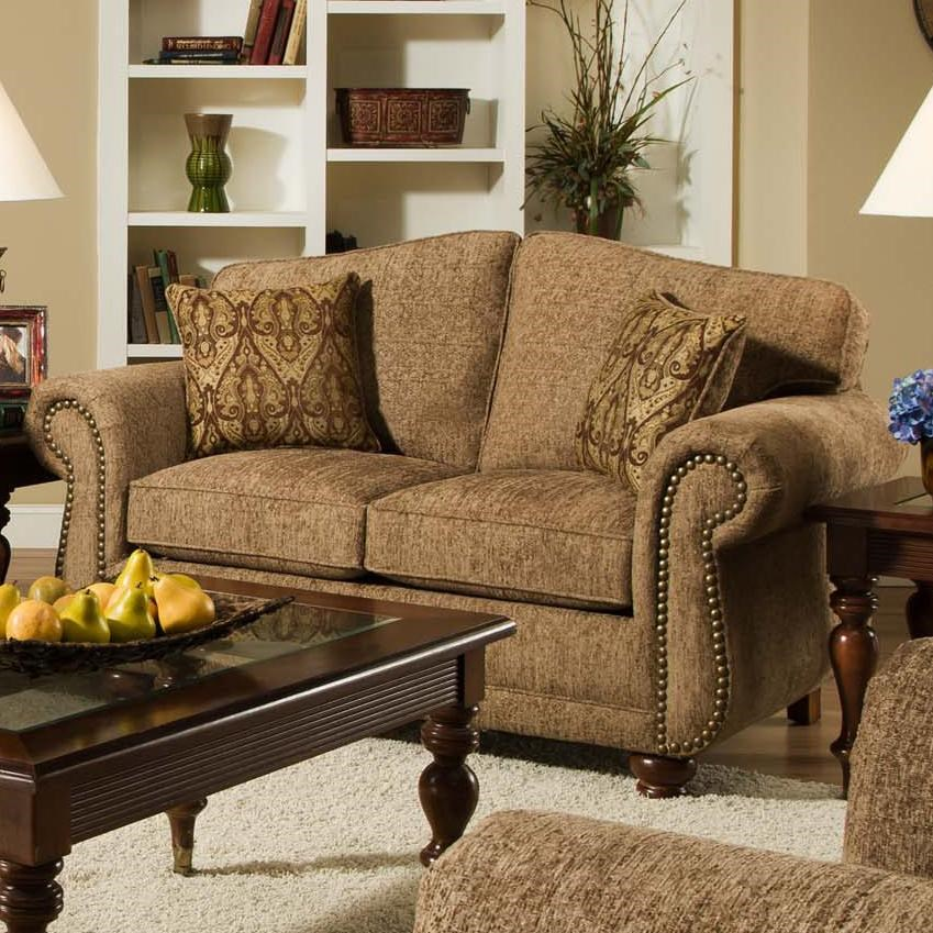 Attirant American Furniture 6000 Traditional Loveseat With Nail Head Trim