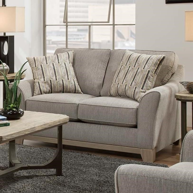 American Furniture 6160 Contempoary Loveseat With Exposed Wood