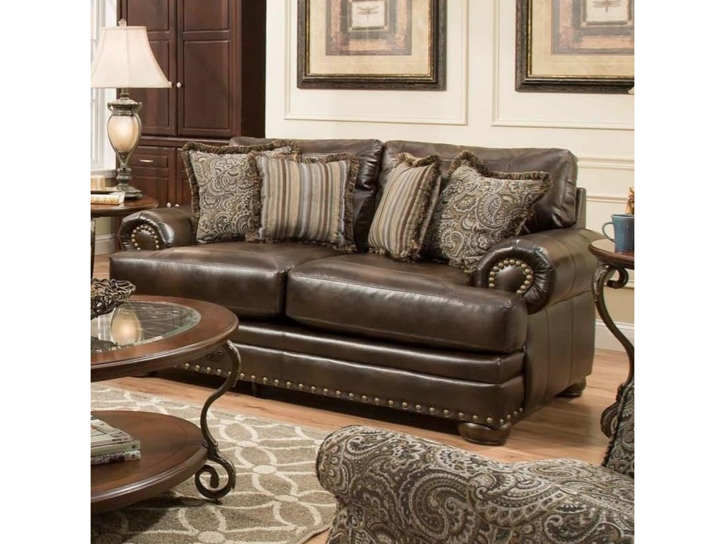 American Furniture 6400Loveseat with Traditional Style