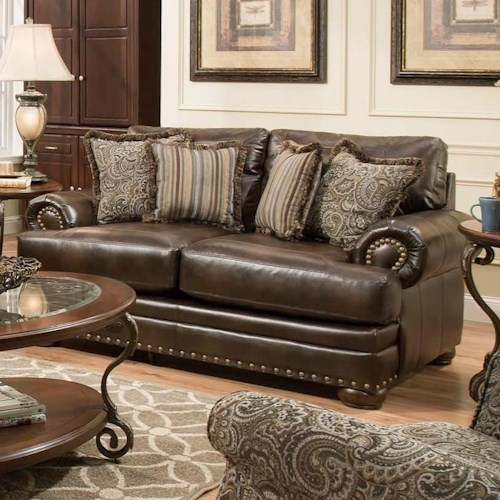 american furniture 6400 loveseat with traditional style aladdin
