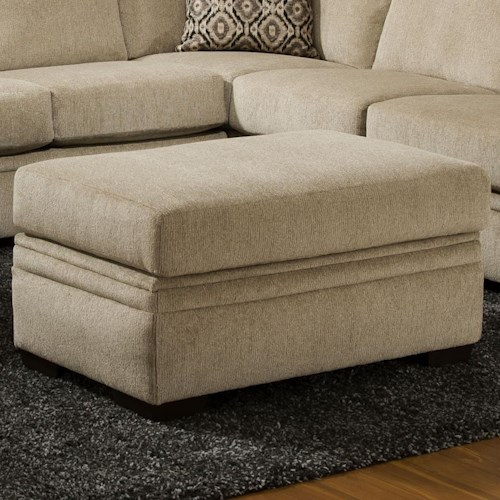 American Furniture 6800 Storage Ottoman with Block Feet