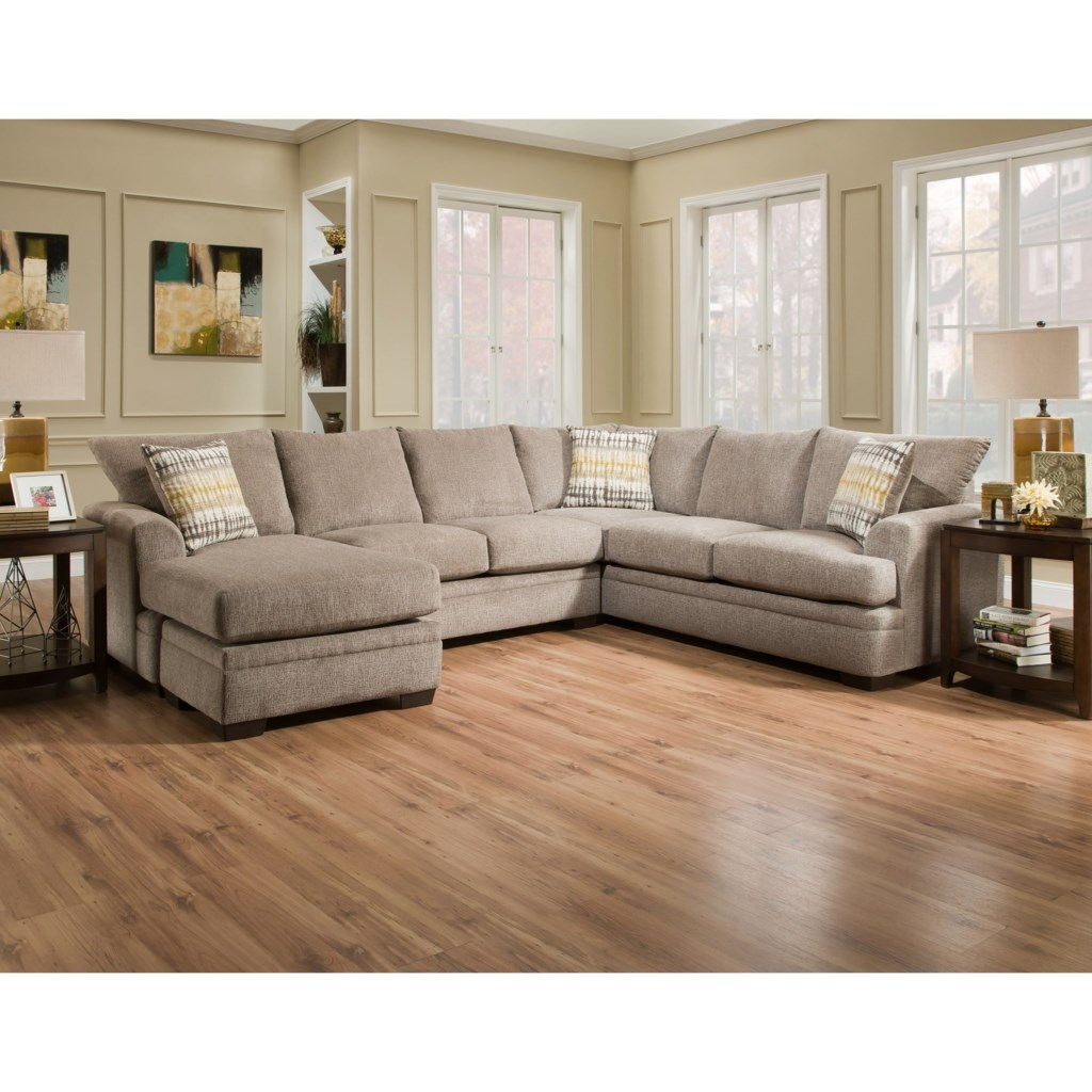 American Furniture 6800 2 Piece Pewter Sofa Sectional w Chaise