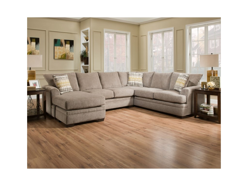 6800 Sectional Sofa with Left Side Chaise by American Furniture at Prime  Brothers Furniture