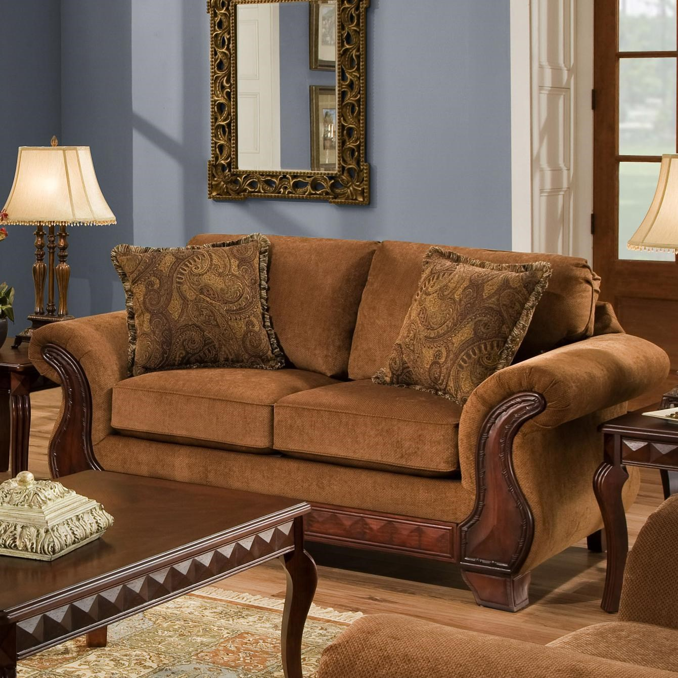 American Furniture 6900 Upholstered Loveseat With Exposed Wood Frame