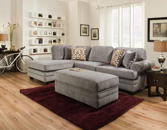 American Furniture 7000Three Seat Sectional with Rounded Arms