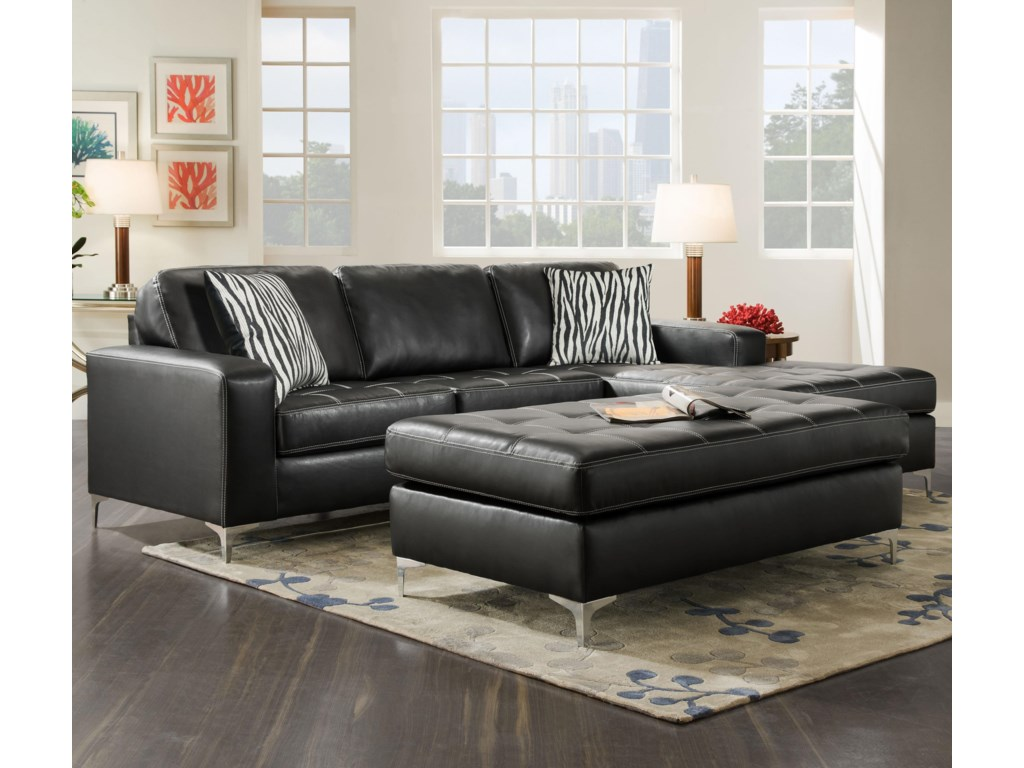American Furniture 7400Three Seat Sectional with Right Side Chaise