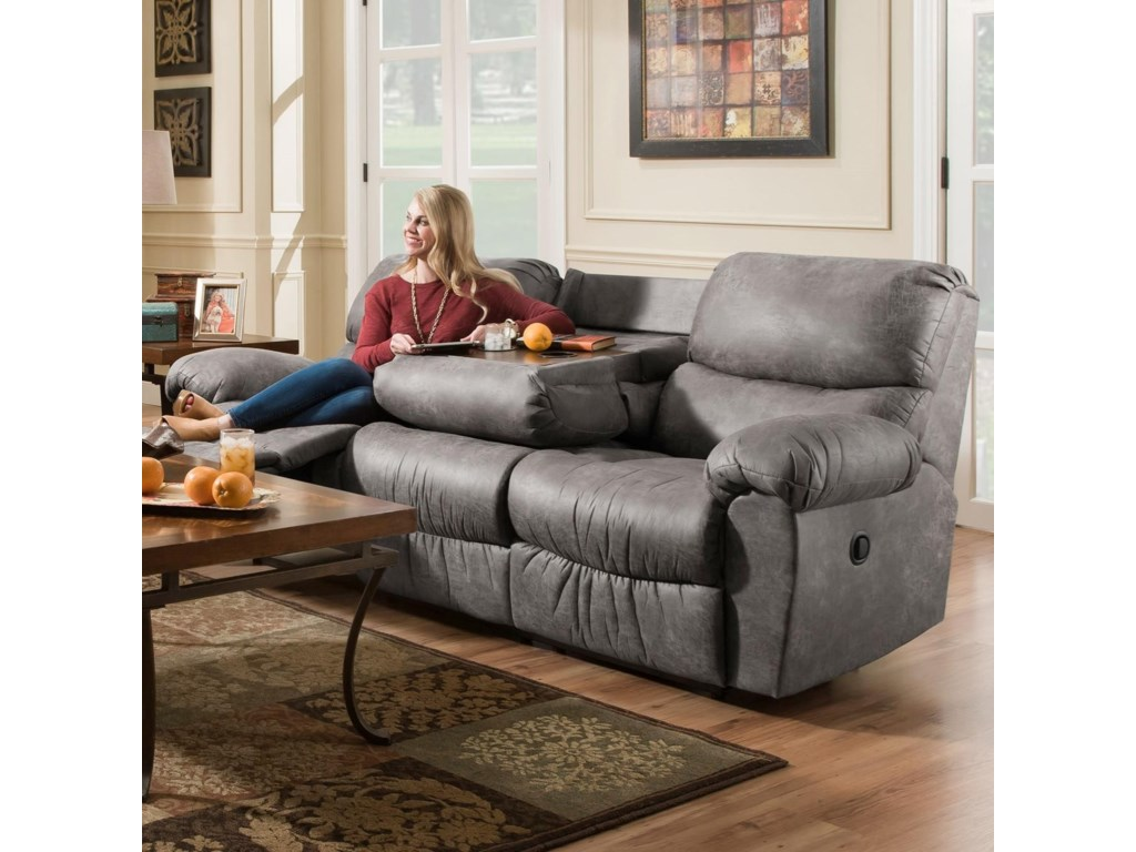 AF310 Casual Reclining Sofa with Fold Down Center Table ...