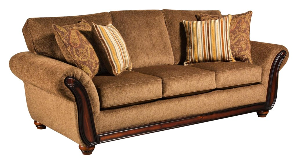 American Furniture 5650 Sofa with Wood Face on Arms Miskelly