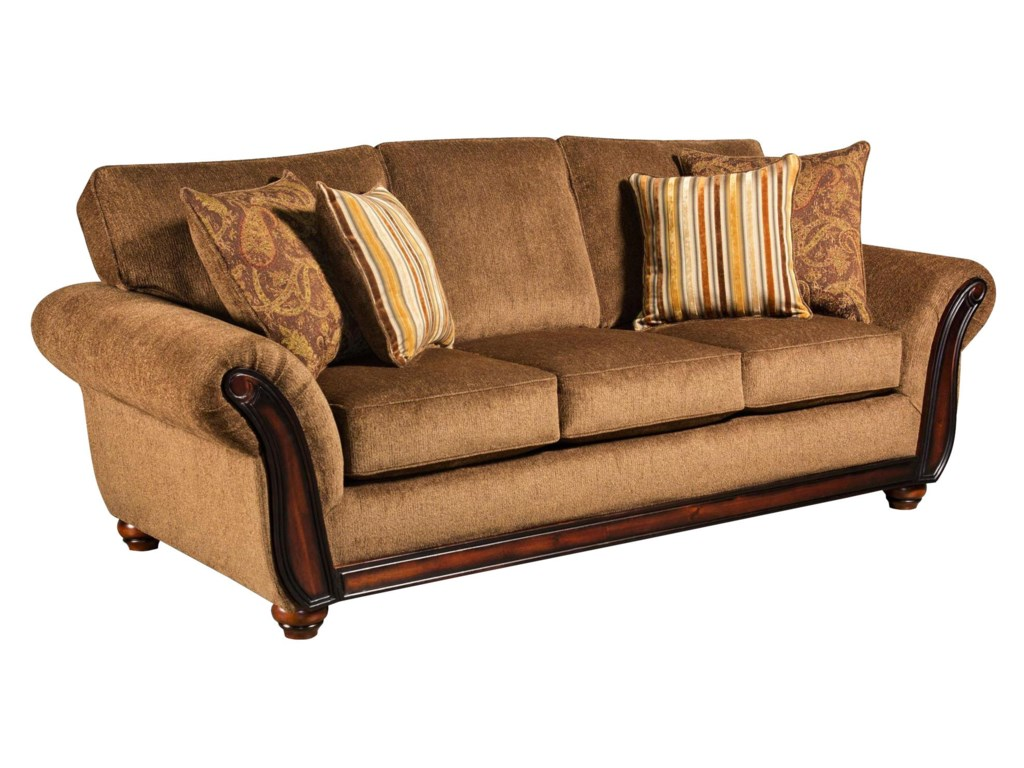 American Furniture 5650 Sofa With Wood Face On Arms