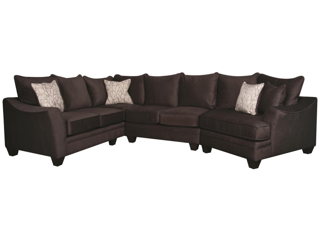 Rachel Modern Sectional Sofa with Accent Pillows by American Furniture at  Morris Home