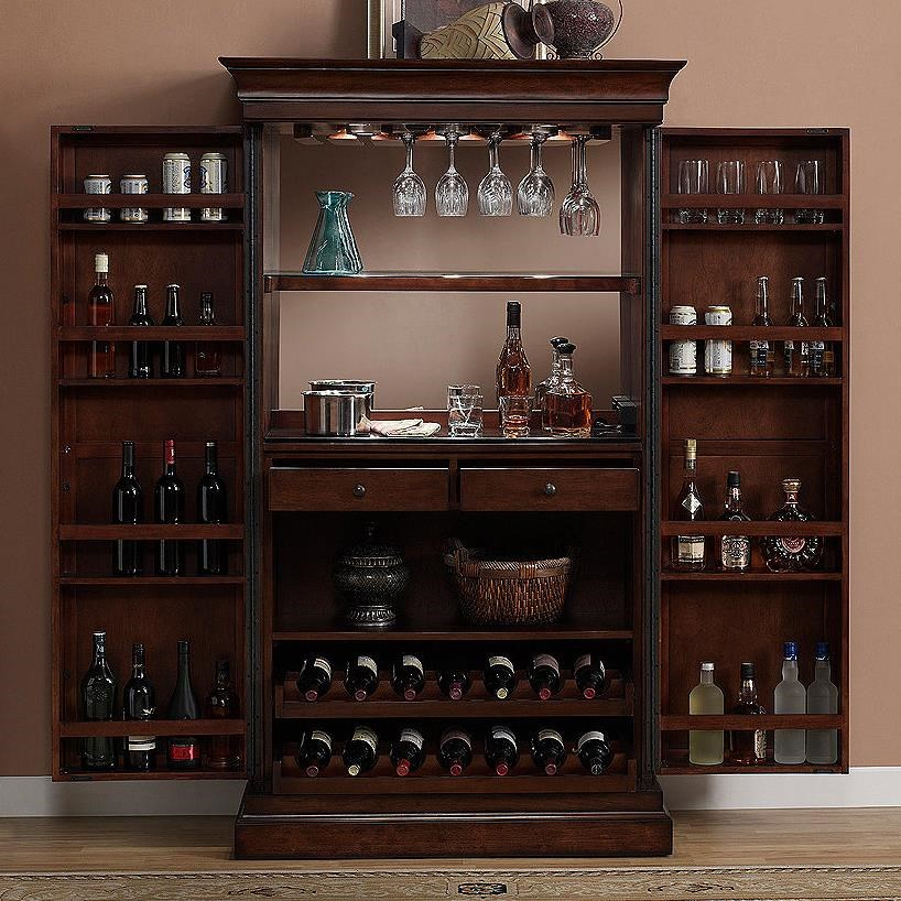 American Heritage Billiards Angelina Armoire Bar Cabinet With Mirror Back