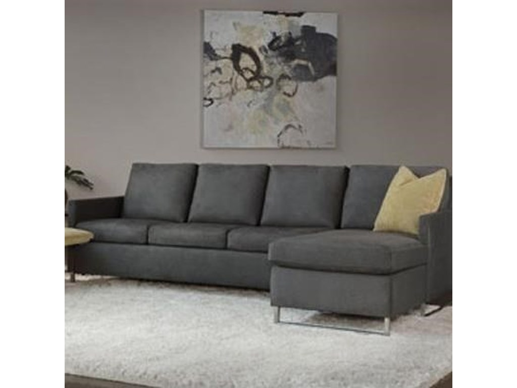 Breckin Contemporary Chaise Sofa With Track Arms By American Leather