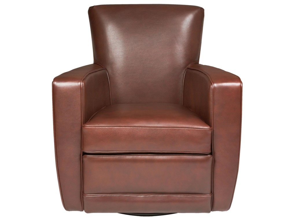 American Contemporary Furniture American Leather Ethan Contemporary Swivel Accent Chair Becker