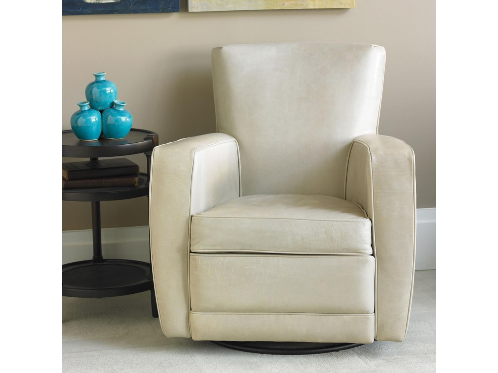 American Leather Ethan Contemporary Swivel Accent Chair ...