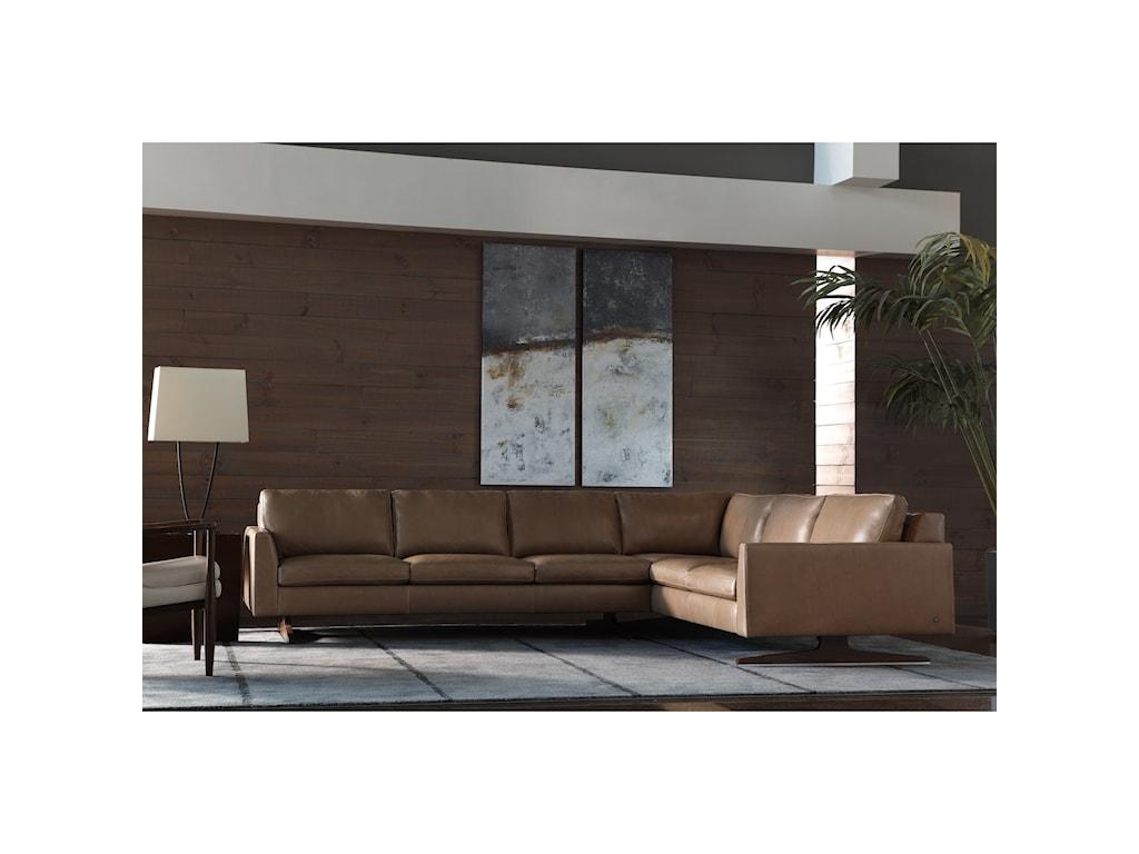 American Leather Flynn5-Seat Sec Sofa w/ Right Arm Sitting Sofa