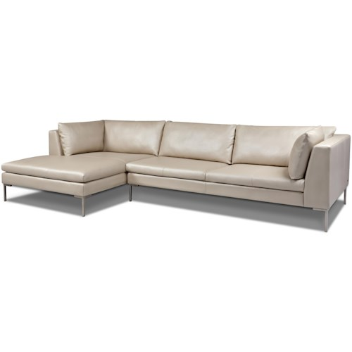 American Leather Inspiration Contemporary Sectional With Right Arm Chaise