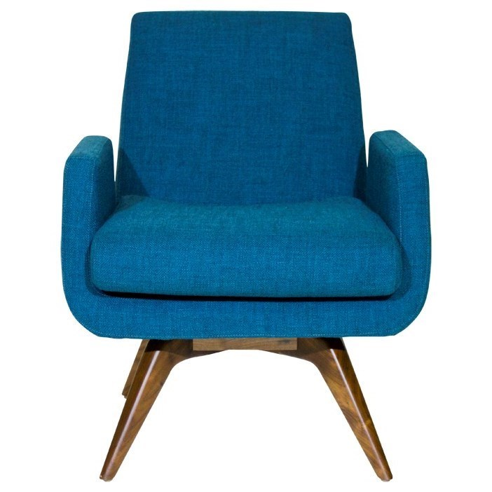 American Leather Landon Mid Century Modern Memory Swivel Chair With Splayed  Legs