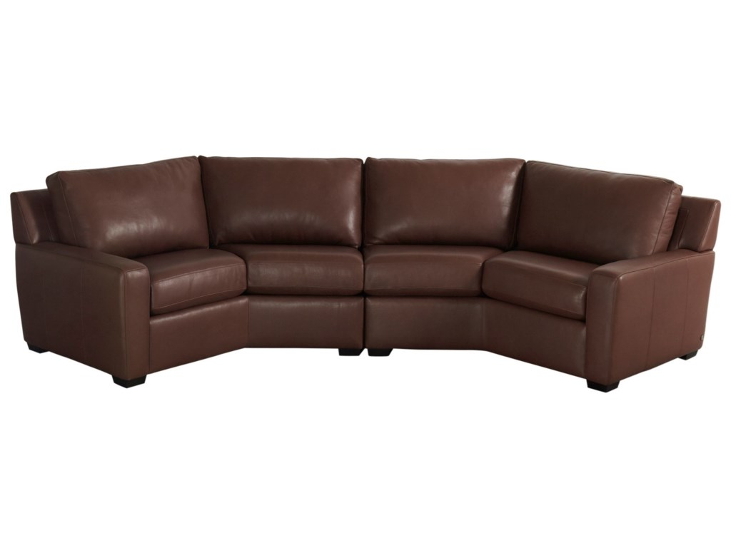American Leather Lisben Contemporary Curved Sectional Sofa ...