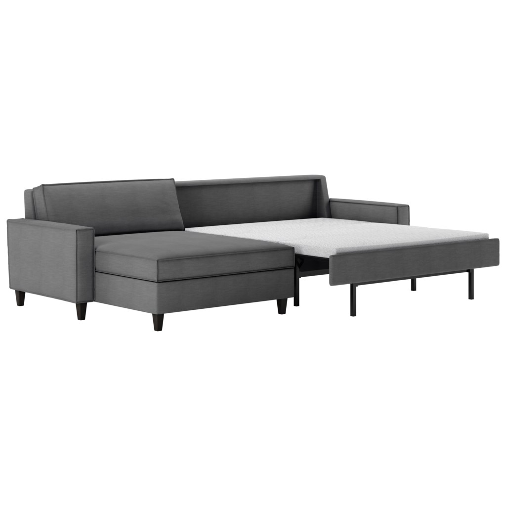 American leather mitchell contemporary two piece sectional sofa with chaise lounge and full sleeper mattress
