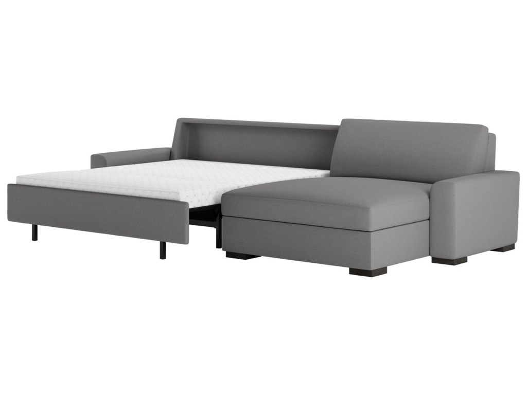 American Leather Olson Two Piece Sectional Sofa With Queen Sleeper Las Oversized Chaise Lounge