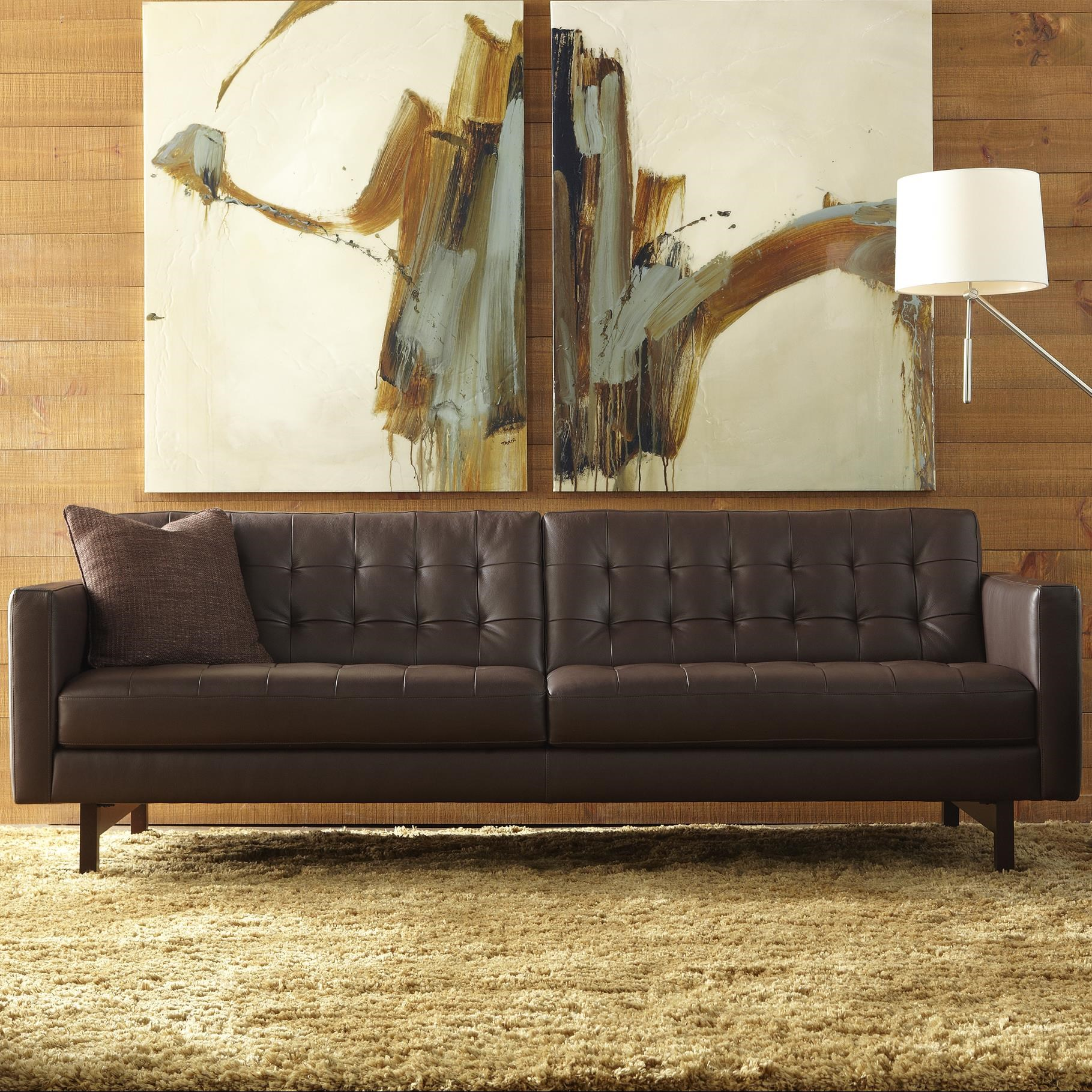 Charming American Leather Parker Casual Sofa With Buttonless Tufted Seat Back    Saugerties Furniture Mart   Sofa