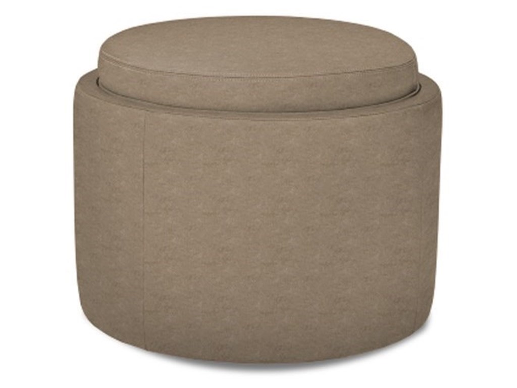 American Leather UnoUno Round Storage Ottoman