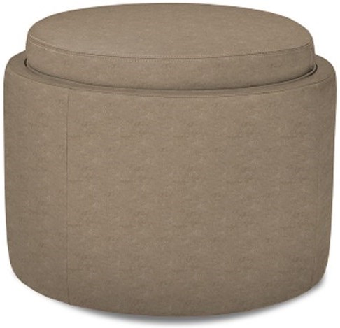 American Leather Uno Round Storage Ottoman With Casters